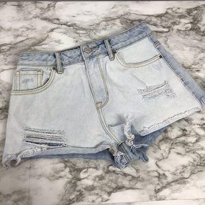 PacSun Lightwash Jean Cutoff High Rise Shorts 25